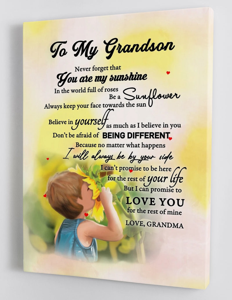 To My Grandson - From Grandma - Sunflower Framed Canvas Gift GMS015