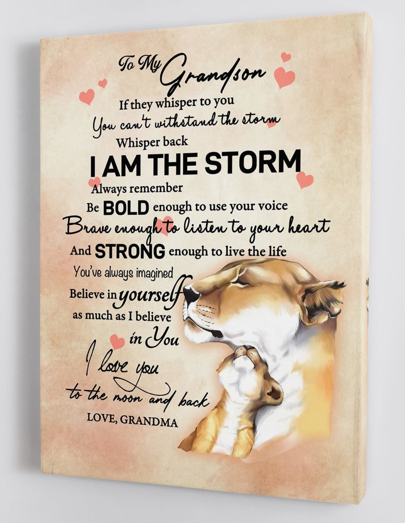 To My Grandson - From Grandma - Framed Canvas Gift GMS016