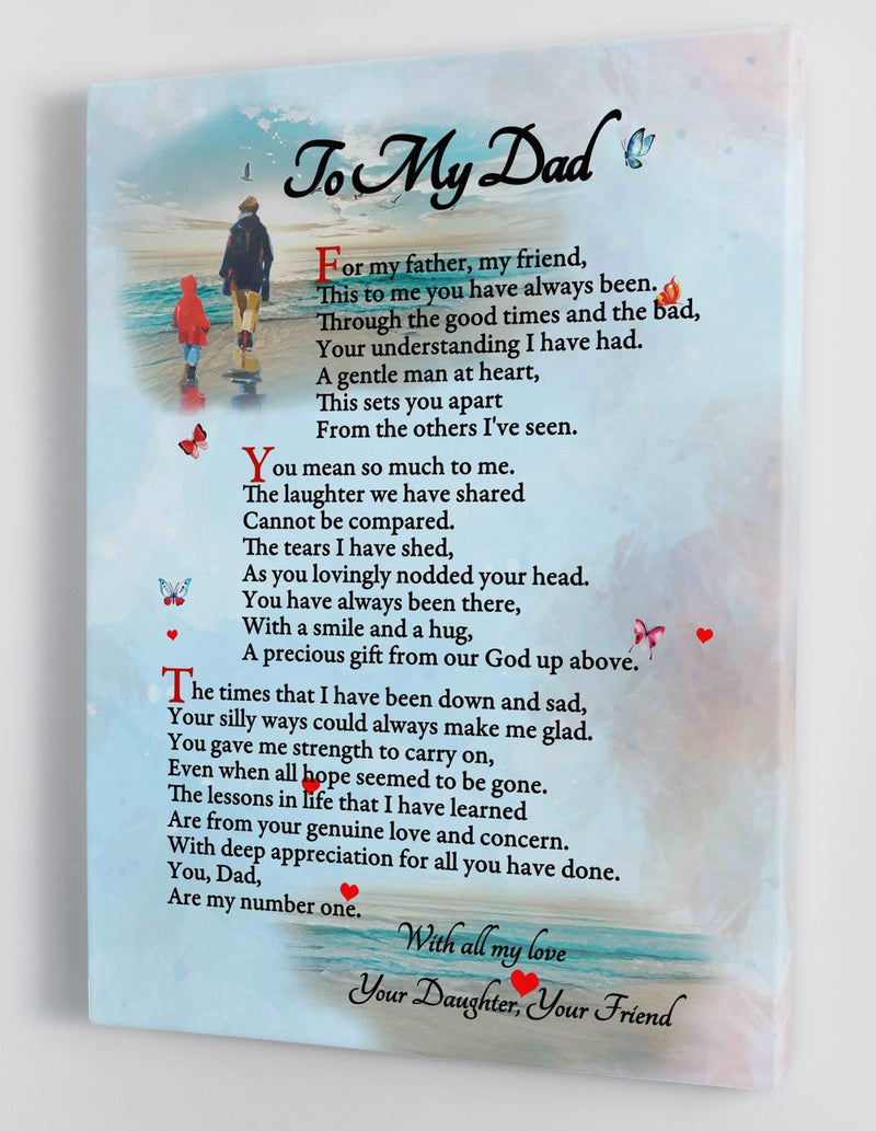 To My Dad - From Daughter - Father's Day Framed Canvas Gift DDA001