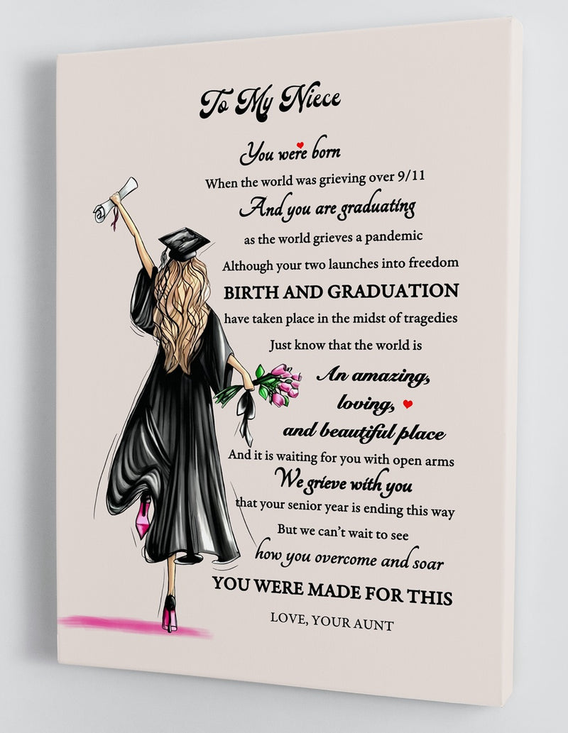 To My Niece Senior 2020 - From Aunt - Graduation Framed Canvas Gift AN002