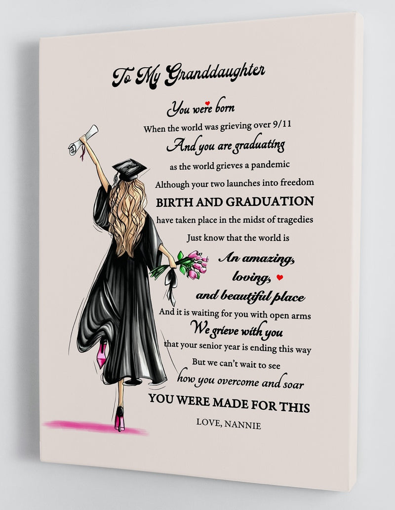 To My Granddaughter Senior 2020 - From Nannie - Graduation Framed Canvas Gift GMD015