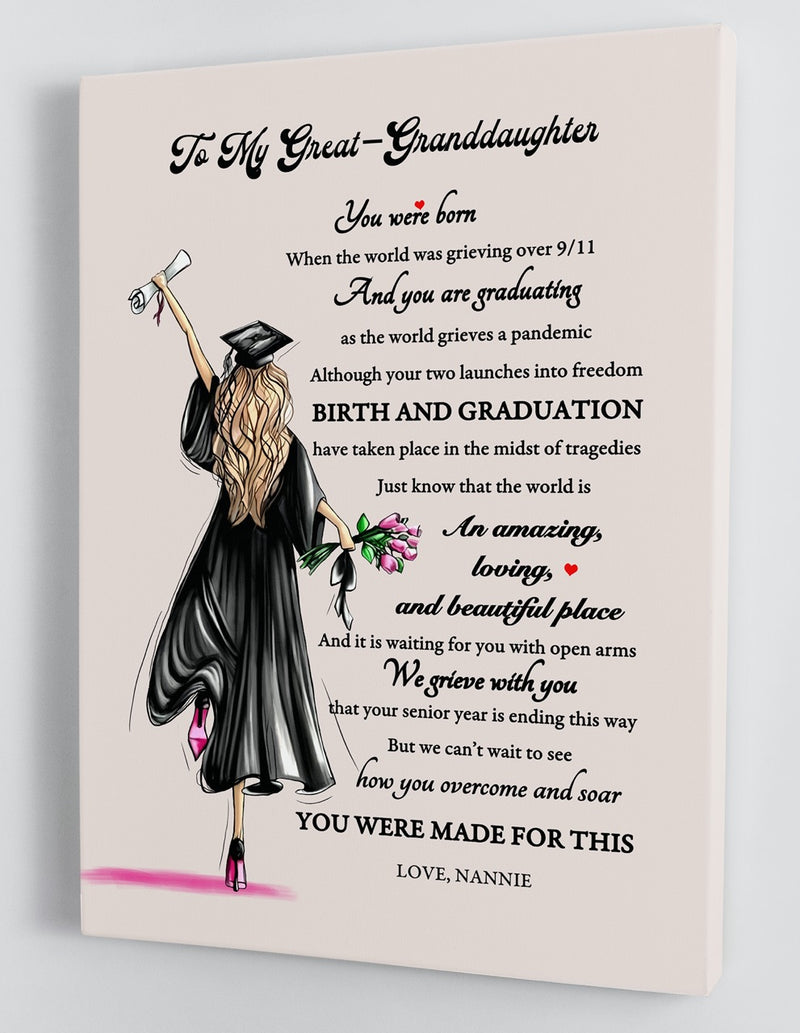 To My Great-Granddaughter Senior 2020 - From Nannie - Graduation Framed Canvas Gift GGMD003