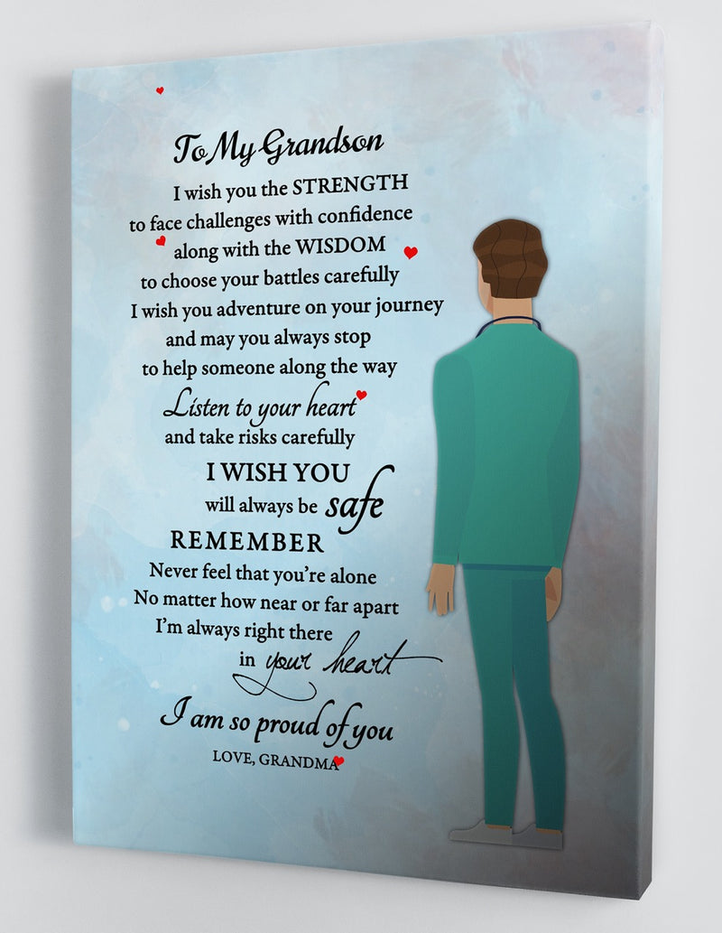 To My Grandson - From Grandma - Nurse Canvas Gift GMS004