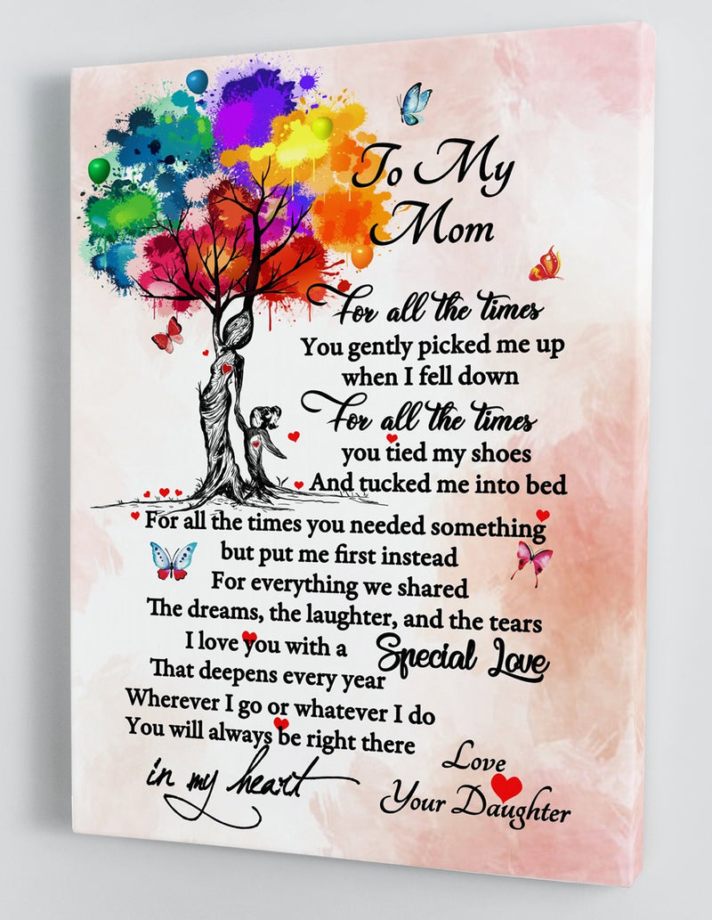 To My Mom - From Daughter - Mother's Day Framed Canvas Gift DM003