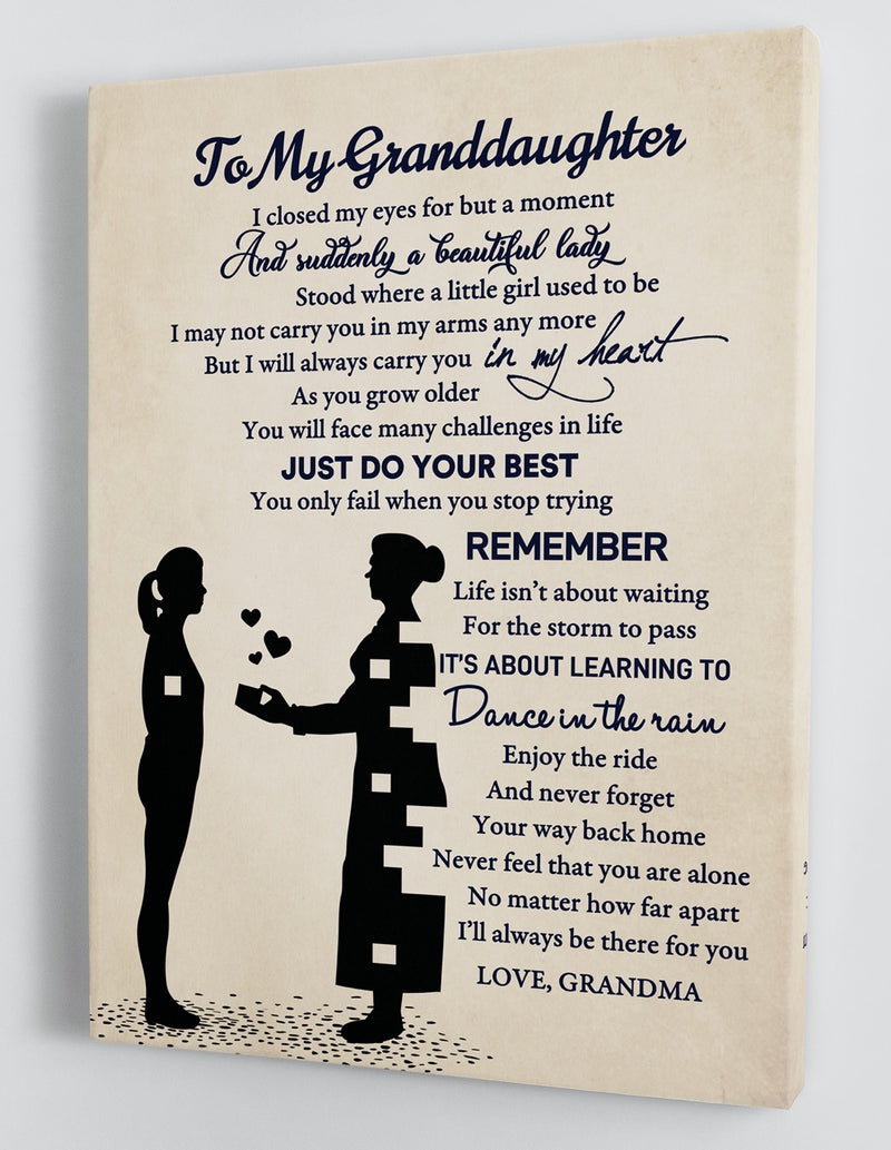To My Granddaughter - From Grandma - Framed Canvas Gift GMD047
