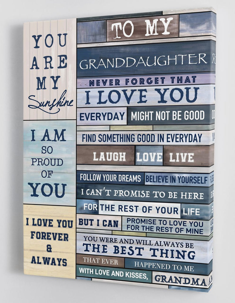 To My Granddaughter - From Grandma - Framed Canvas Gift GMD050