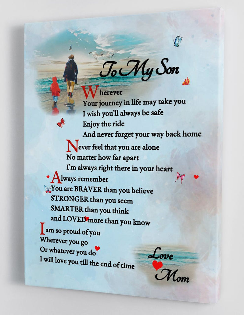 To My Son - From Mom - Framed Canvas Gift MS034