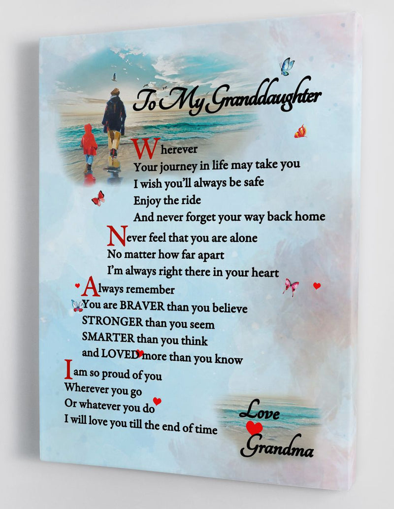 To My Granddaughter - From Grandma - Framed Canvas Gift GMD051