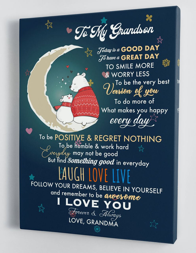 To My Grandson - From Grandma - Christmas Canvas Gift GMS057