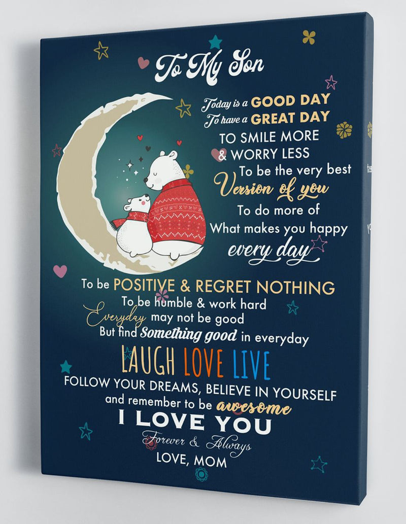 To My Son - From Mom - Christmas Canvas Gift MS053