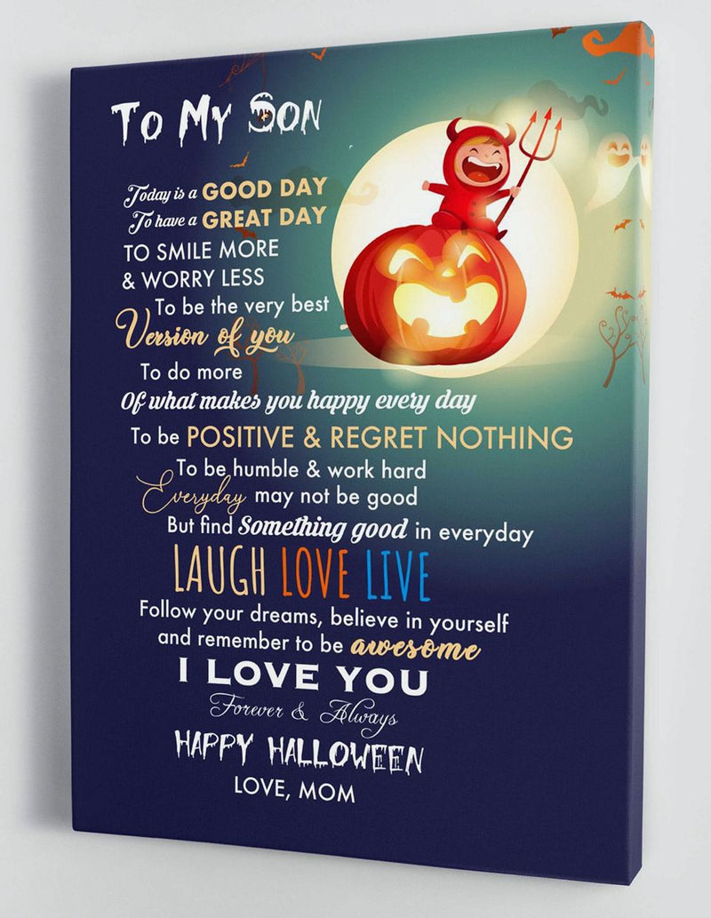 To My Son - From Mom - Halloween Canvas Gift MS052