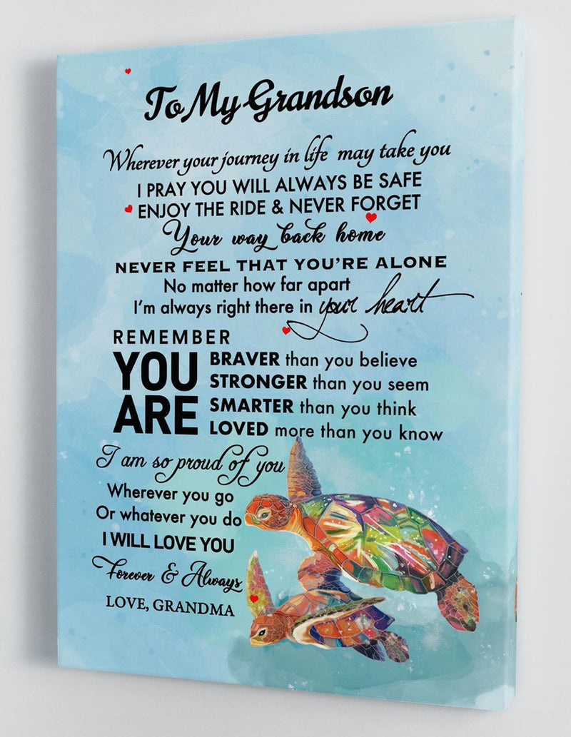 To My Grandson - From Grandma - Framed Canvas Gift GMS052