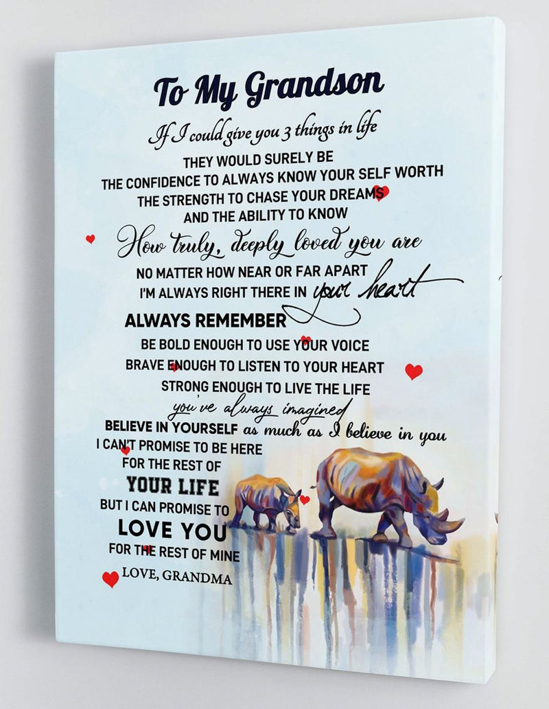 To My Grandson - From Grandma - Framed Canvas Gift GMS051
