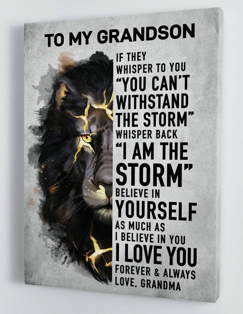 To My Grandson - From Grandma - Framed Canvas Gift GMS047