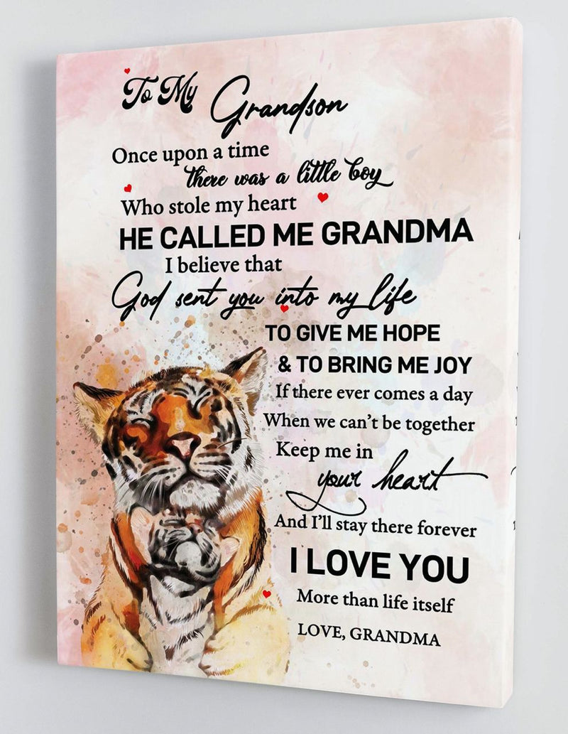 To My Grandson - From Grandma - Framed Canvas Gift GMS046