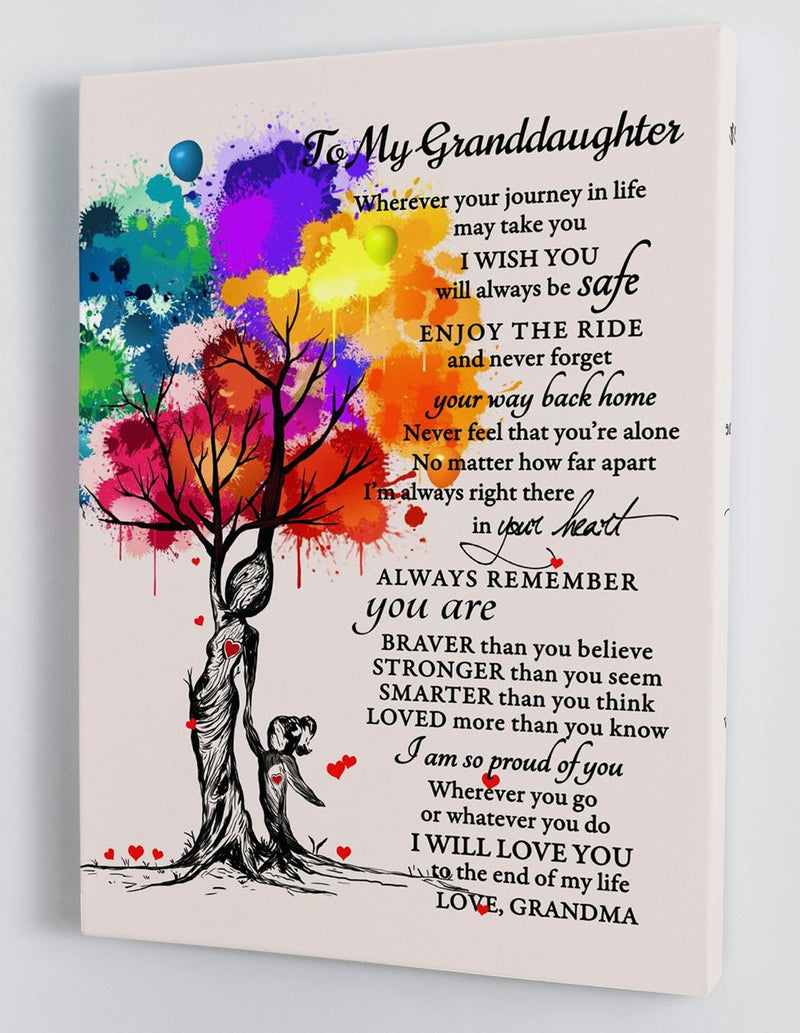 To My Granddaughter - From Grandma - Hard Time Framed Canvas Gift GMD055