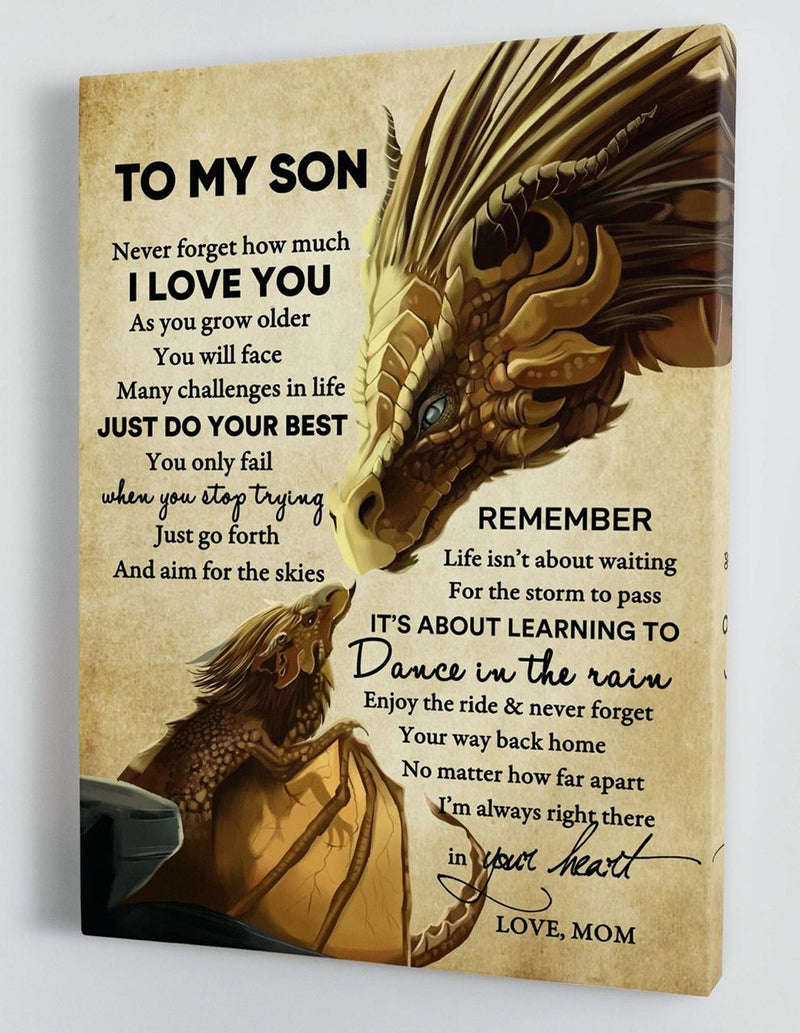 To My Son - From Mom - Framed Canvas Gift MS037
