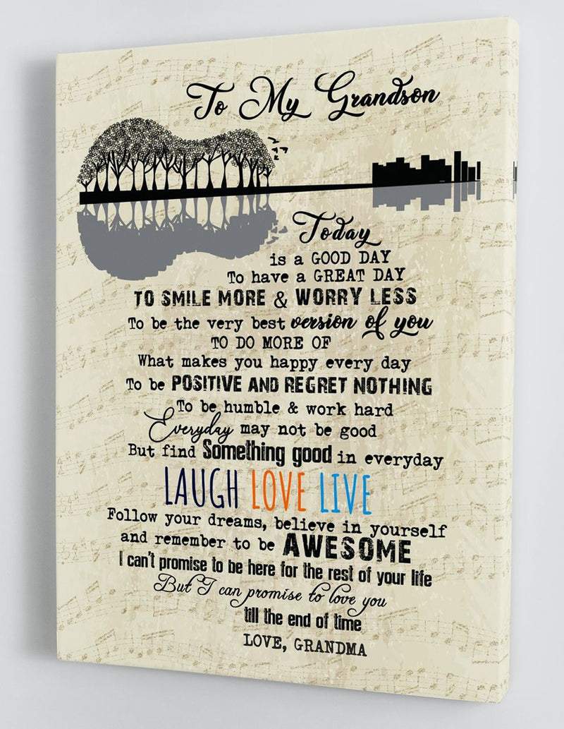 To My Grandson - From Grandma - Framed Canvas Gift GMS061