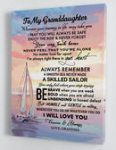 To My Granddaughter - From Mom - Framed Boat Canvas Gift GMD072