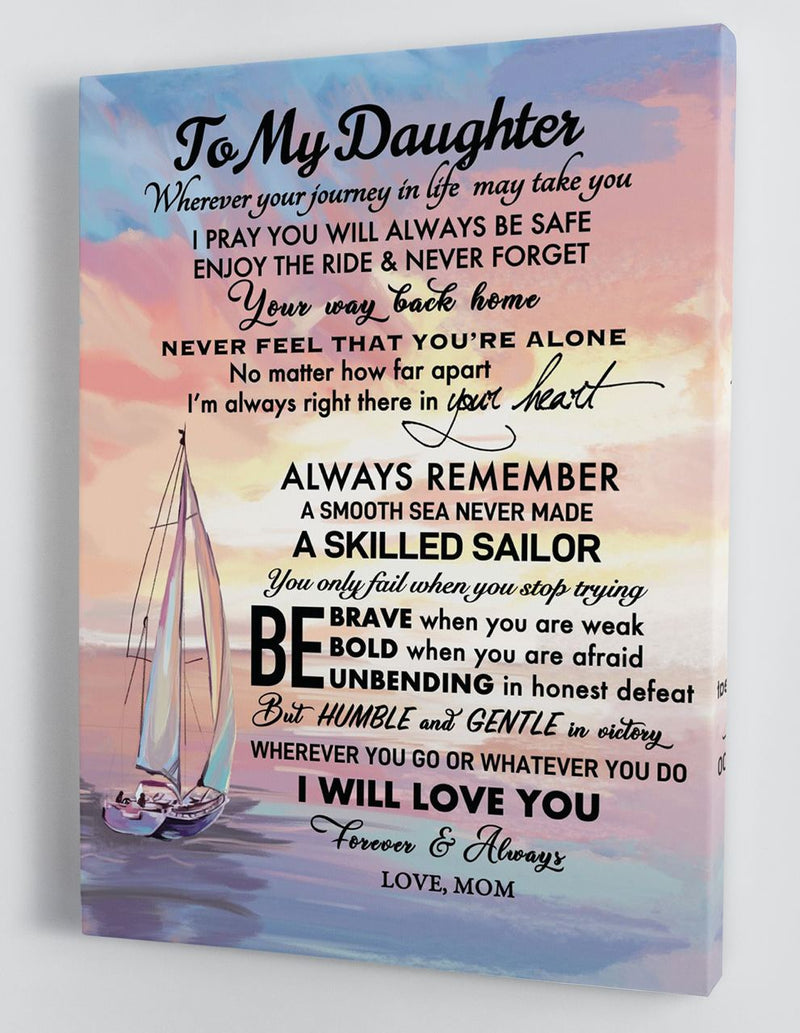 To My Daughter - From Mom - Framed Boat Canvas Gift MD066