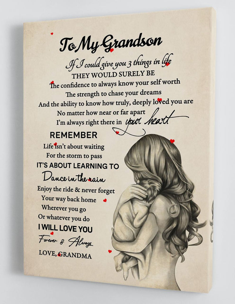 To My Grandson - From Grandma - Framed Canvas Gift GMS063