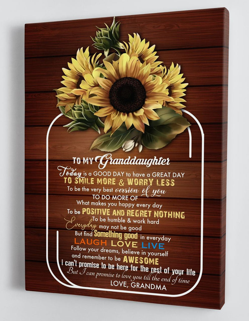 To My Granddaughter - From Grandma - Framed Sunflower Canvas Gift GMD076