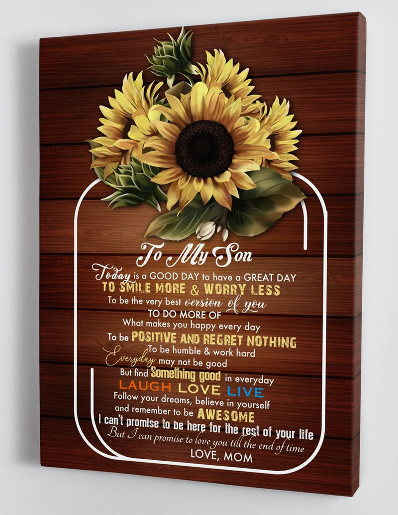 To My Son - From Mom - Framed Sunflower Canvas Gift MS062