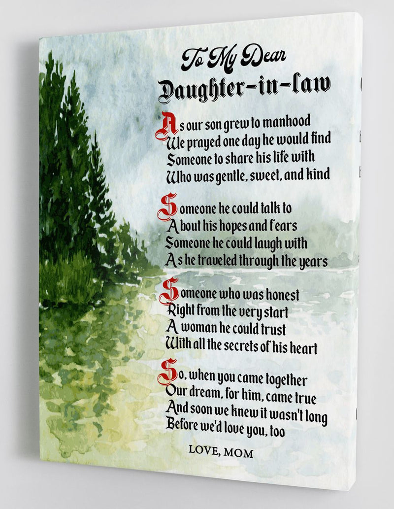 To My Daughter-in-Law - From Mother-in-Law - Framed Canvas Gift MD072