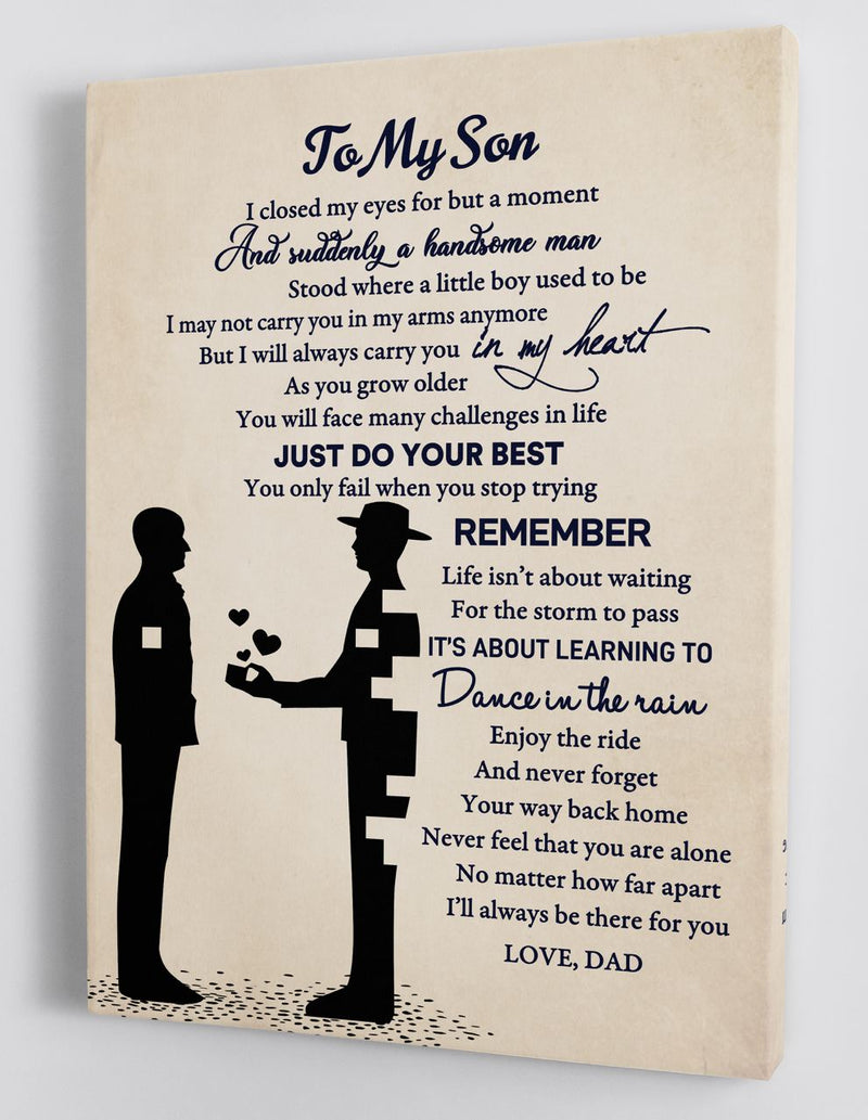 To My Son - From Dad - Framed Canvas Gift DS008