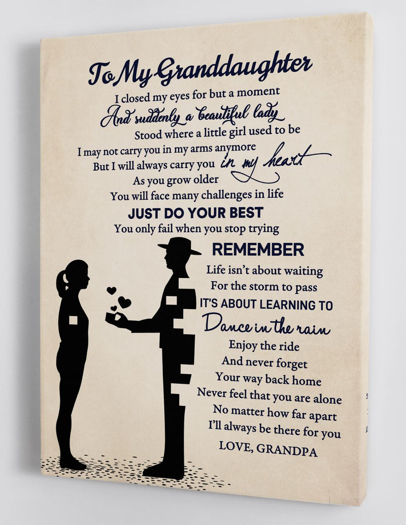 To My Granddaughter - From Grandpa - Framed Canvas Gift GPD005