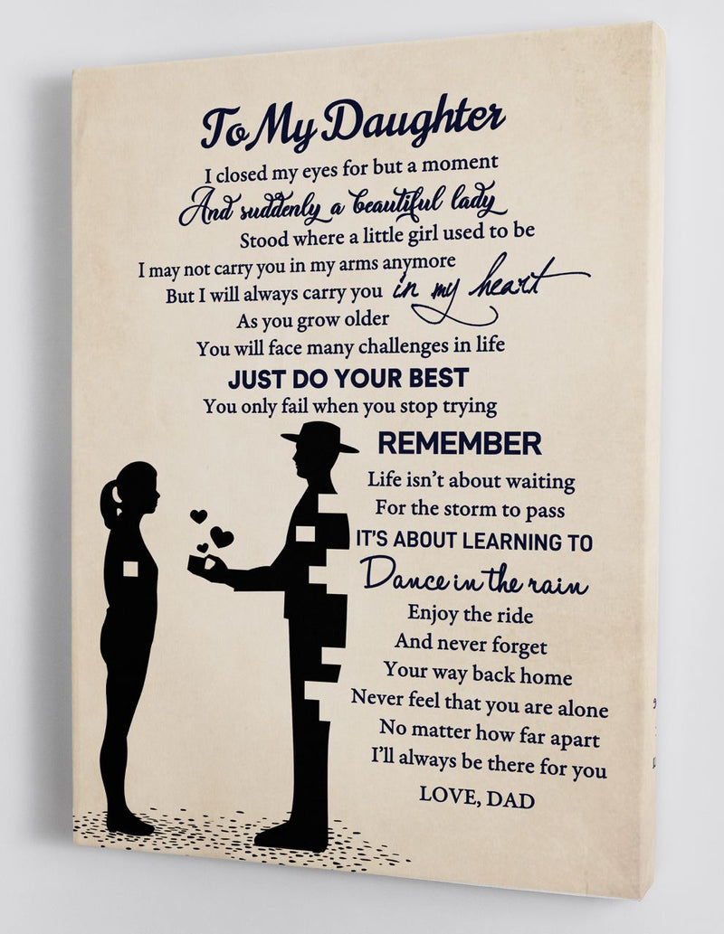 To My Daughter - From DAD - Framed Canvas Gift DD005