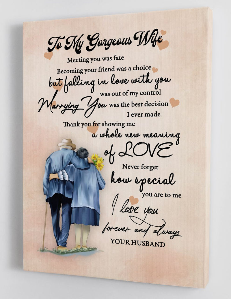 To My Wife - Love From Husband - Framed Canvas Gift HW002