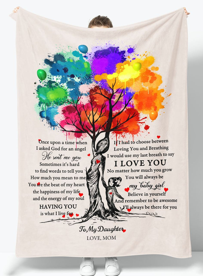 To My Daughter - From Mom - Fleece Blanket Gift BMD003