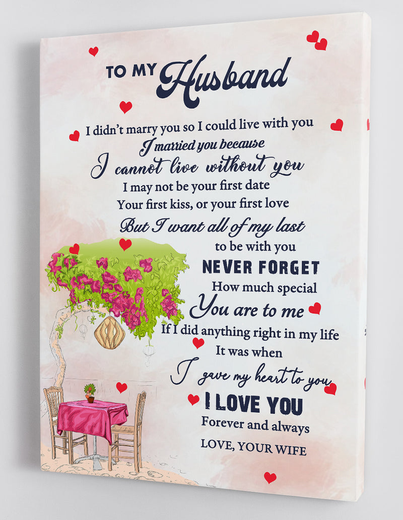 To My Husband - From Wife - Framed Canvas Gift WH007
