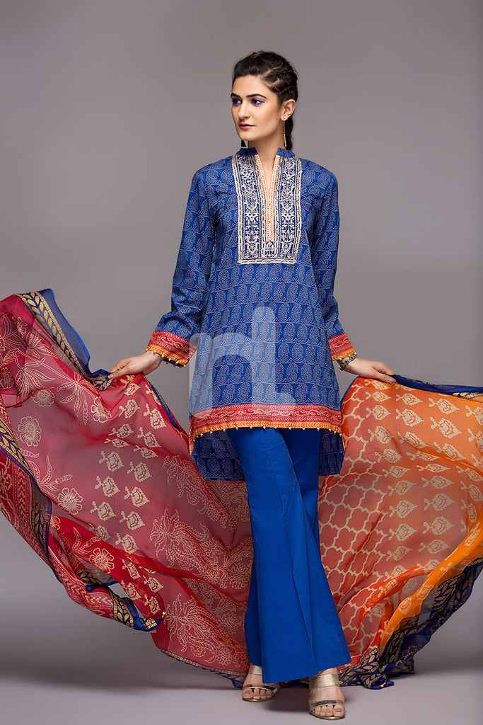 41800467- Lawn & Krinckle Chiffon - Blue Printed 3PC