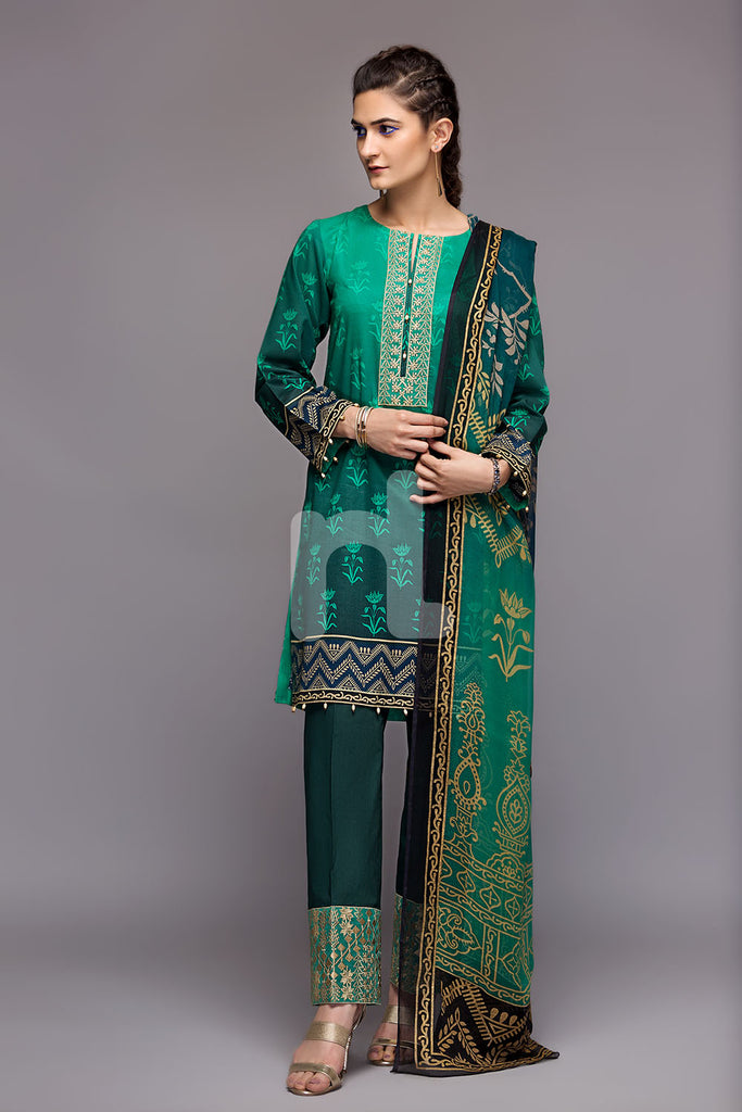 41800468-Blended Krinckle Chiffon-Blue Embroidered 2Pc