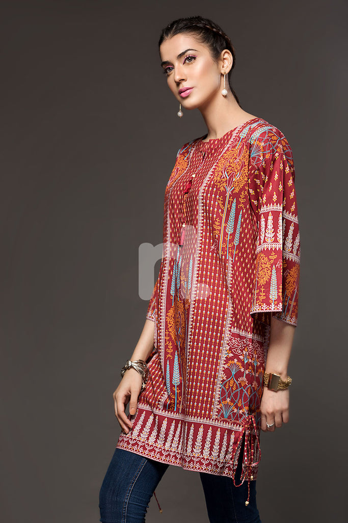 41800561-Red Printed Lawn Shirt Fabric Per (PKR 520/-) Meter-1PC