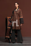 41901002-Karandi & Pashmina - Black Printed 3PC