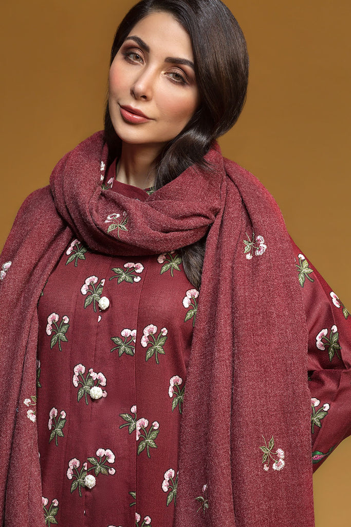41901025-Karandi & Embroidered Shawl - Maroon Printed 3PC