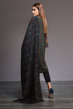 41901029-Yarn Dyed & Woven Shawl-Black Embroidered 3PC