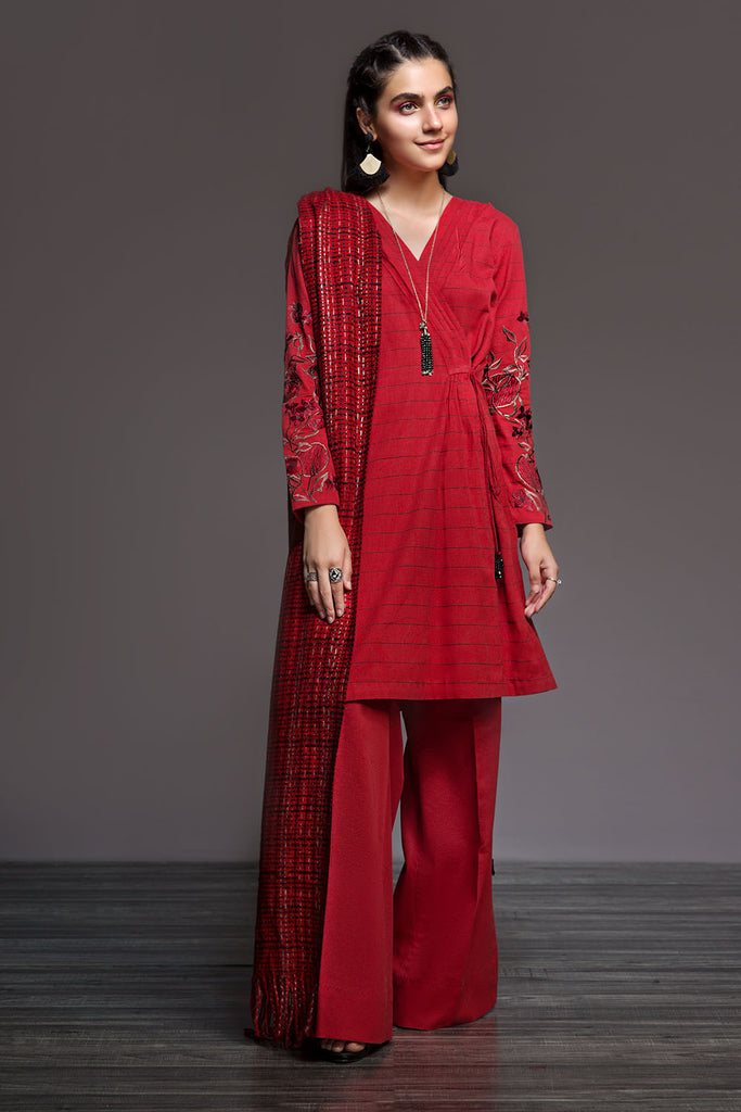 41901035-Yarn Dyed-Red Printed 1PC