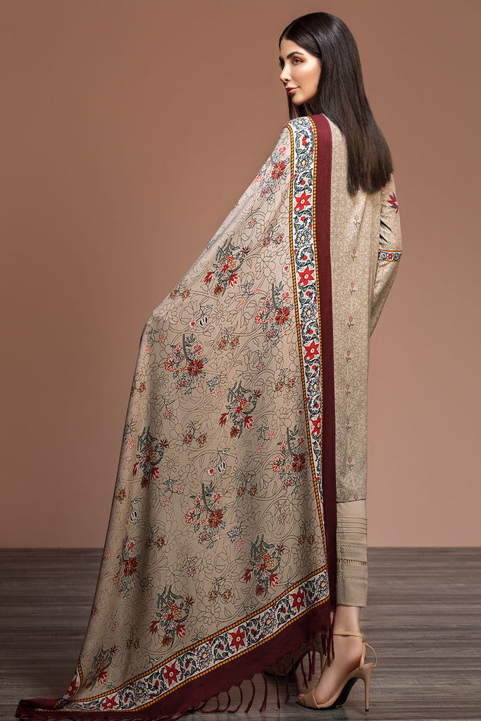 41901037-Linen & Silk Wool - Beige Printed 3PC