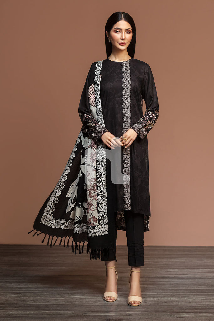 41901042-Linen & Silk Wool - Black Printed 3PC