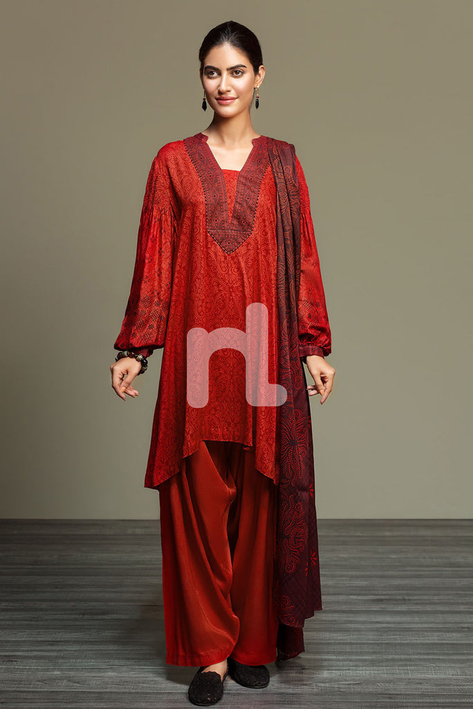 41901078-Linen - Red Printed 3PC