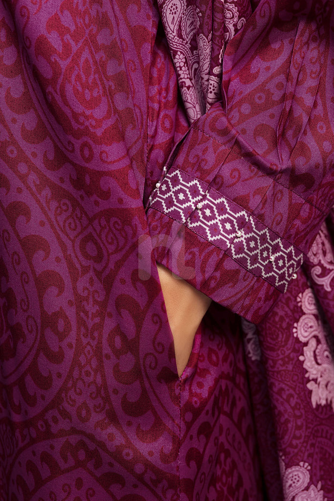 41901083- Purple Printed Linen Shirt Fabric Per (PKR 445/-) Meter-1PC