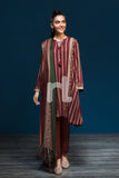 41901093-Linen Shawl - Maroon Printed 3PC
