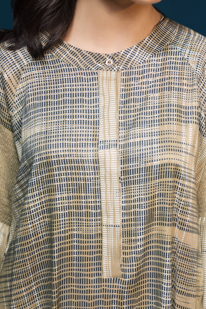 41901095- Brown Printed Linen Shirt Fabric Per (PKR 445/-) Meter-1PC