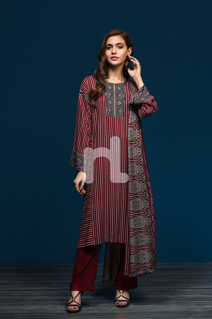 41901097-Linen-Red Printed 2PC