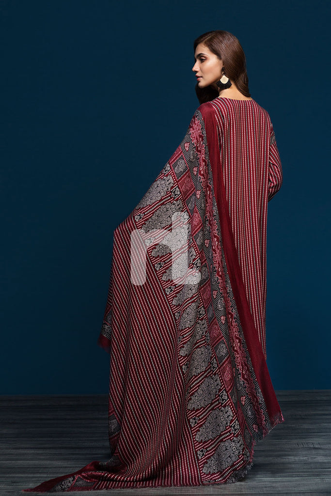 41901097-Linen Shawl - Red Printed 3PC
