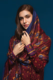 41901099-Linen Shawl - Red Printed 3PC